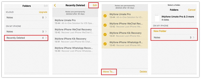 recover iphone notes from recently deleted folder