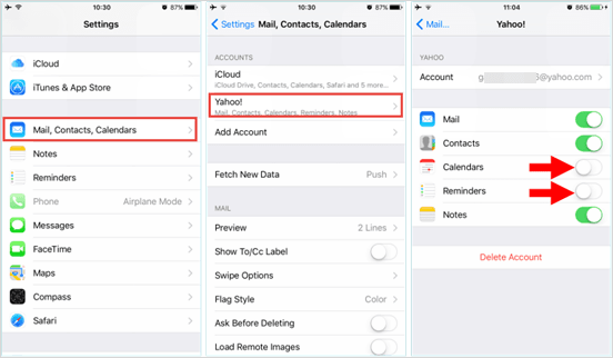 retrieve iphone calendars from email account